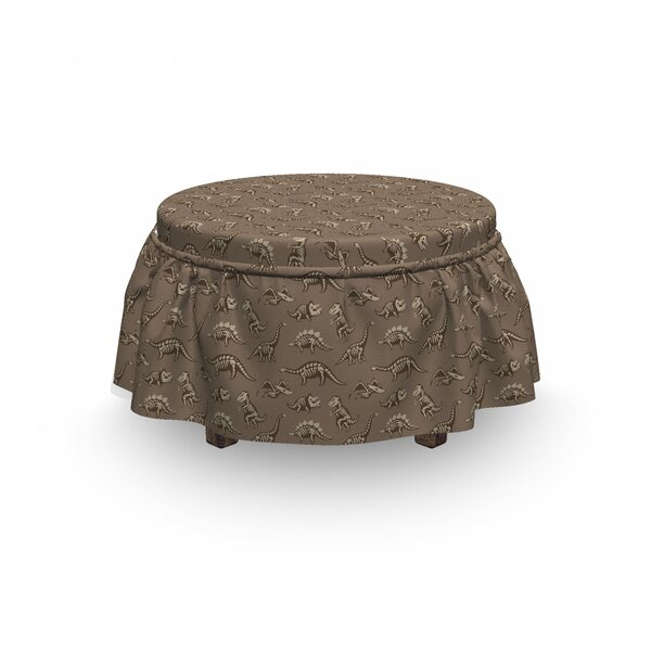Doodle Fossil Dinosaurs Ottoman Slipcover (Set Of 2) By East Urban Home