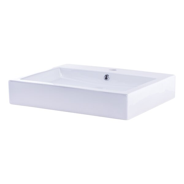 Ceramic Rectangular Vessel Bathroom Sink with Overflow by Novatto