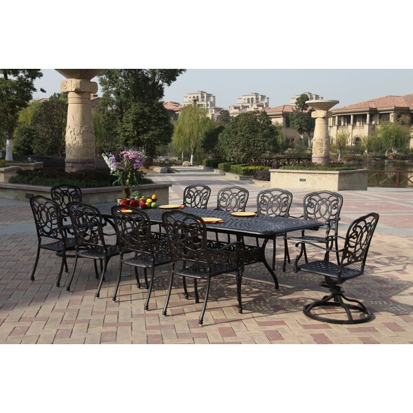 Battista 11 Piece Dining Set With Cushions By Fleur De Lis Living by Fleur De Lis Living Bargain
