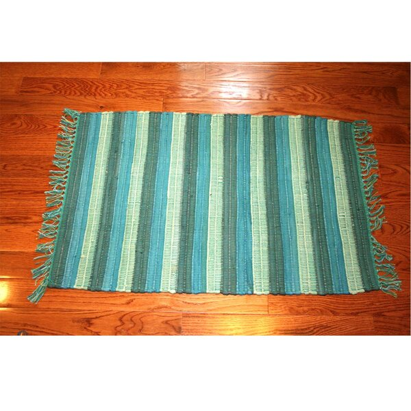 One-of-a-Kind Linmore Nubby Stripe Hand-Woven Teal Area Rug by Bay Isle Home