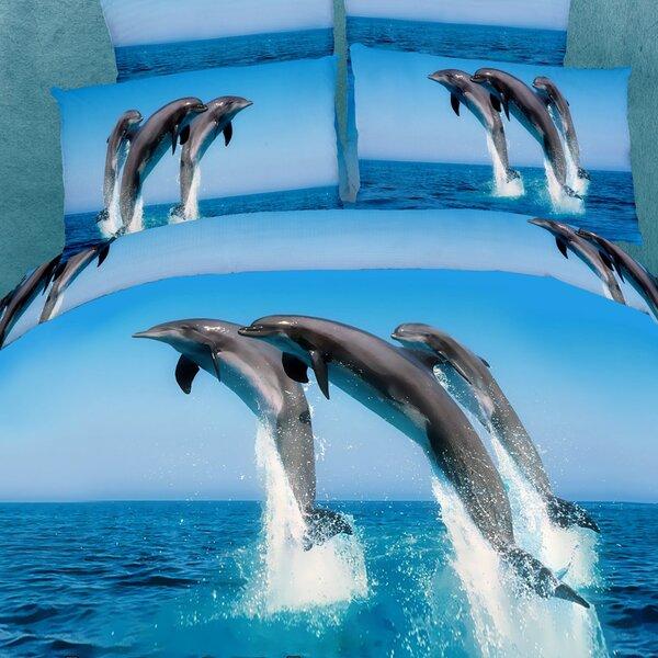 Dolce Mela Atlantic Dolphins 6 Piece King Duvet Cover Set by Dolce Mela