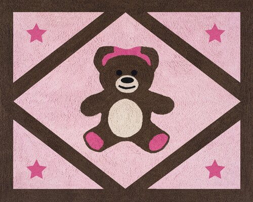 Teddy Bear Pink Area Rug by Sweet Jojo Designs