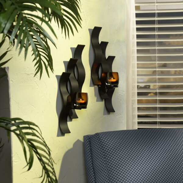 Solaris Triple Wave Glass Sconce (Set of 2) by Mikasa