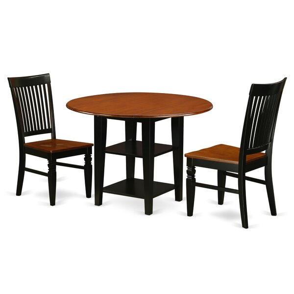 Tyshawn 3 Piece Drop Leaf Breakfast Nook Solid Wood Dining Set by Charlton Home