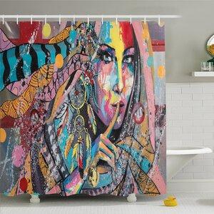 Modern Art Home Talisman Girl with Indian Dreamcatcher and Tribal Murky Boho Paint u00a0Shower Curtain Set