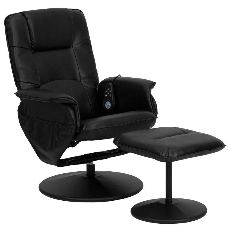 Leather Heated Reclining Massage Chair U0026 Ottoman