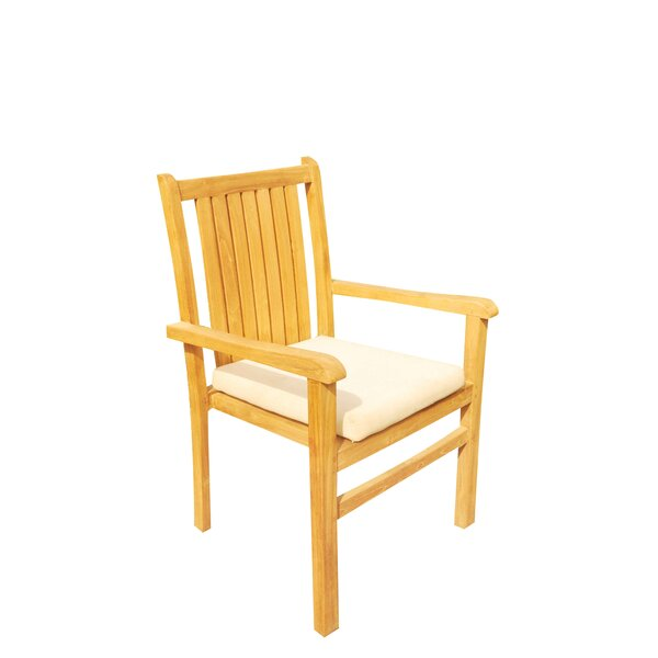 Doubleday Stacking Teak Patio Dining Chair by Rosecliff Heights