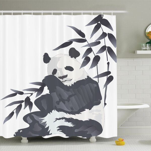 Joellen Panda in Zoo Chinese Shower Curtain Set by Bloomsbury Market