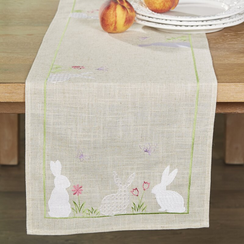 Bunnies in Bloom Easter Embroidered Table Runner