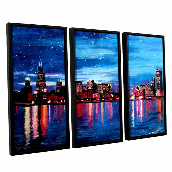 Chicago Skyline At Dusk by Marcus/Martina Bleichner 3 Piece Framed Painting Print Set by ArtWall