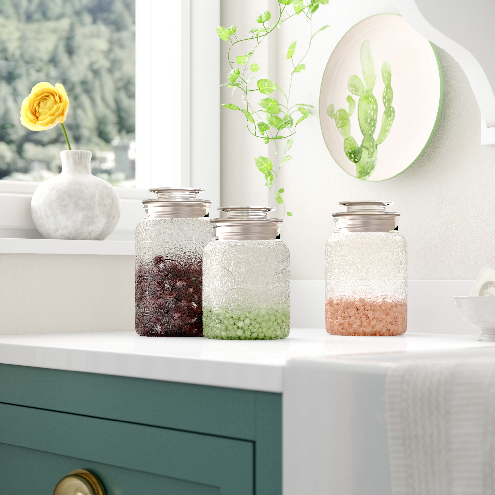 Bungalow Rose Glass 3 Piece Kitchen Canister Set Reviews Wayfair
