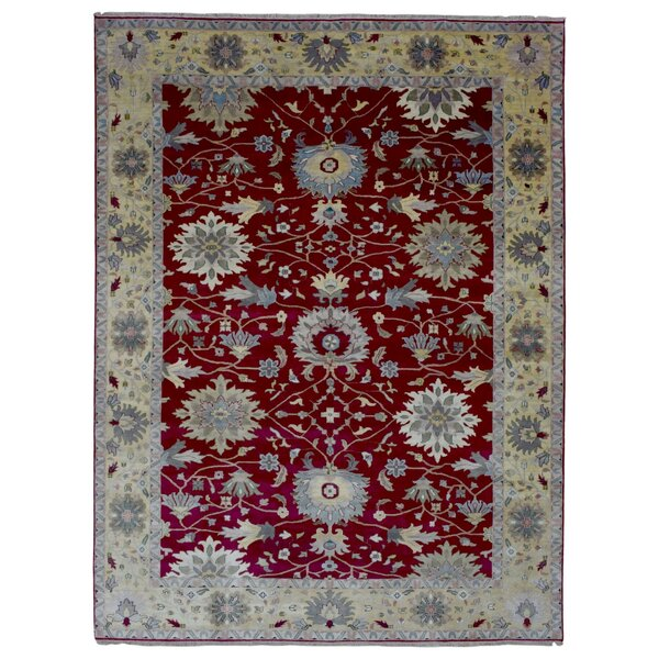 One-of-a-Kind Carmon Oriental Hand-Woven Wool Red/Beige Area Rug by Darby Home Co