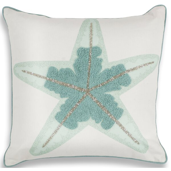 Chamberlain Aqua Starfish Linen Throw Pillow by Rosecliff Heights