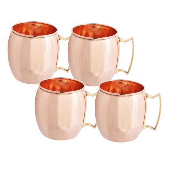 Moscow Mule 16 oz. Copper Mugs (Set of 4) by Old D