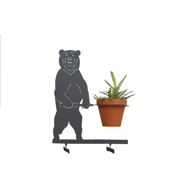 3D Metal Lawn Art Bear Pot Planter by Riverstone Industries