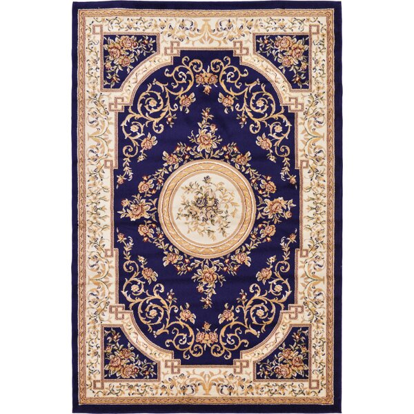 Oskar Navy Blue Area Rug by Charlton Home