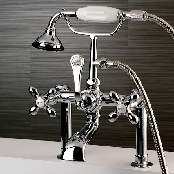 Vintage Triple Handle Deck Mounted Clawfoot Tub Faucet with Diverter and Handshower by Kingston Brass Kingston Brass