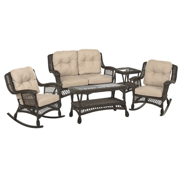 Norah 5 Piece Rattan Sofa Seating Group with Cushions by Bayou Breeze