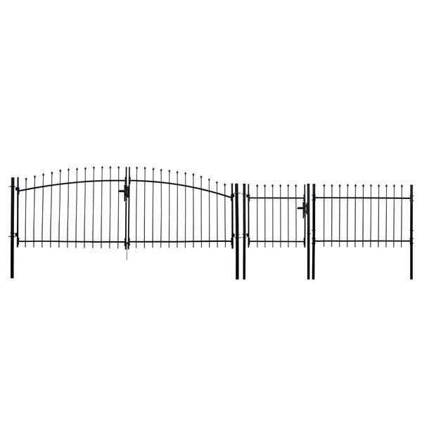ALEKO DIY Steel Dual Swing Driveway Gate Kit - ATHENS Style - 15 x 5 Feet with Pedestrian Gate - 3 x 5 Feet by ALEKO