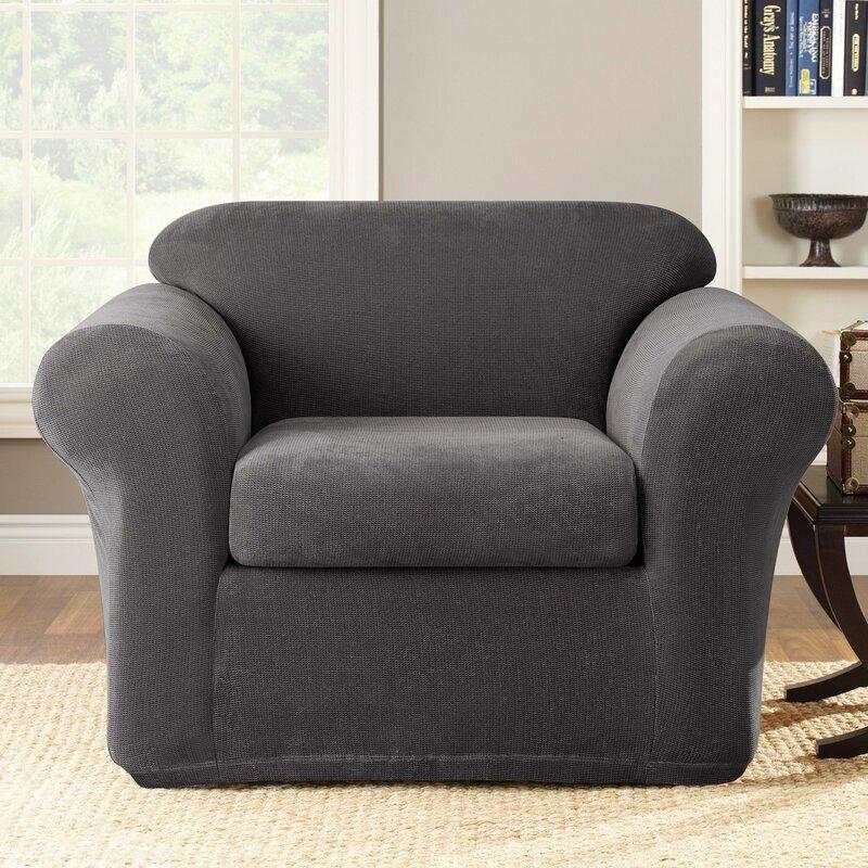 living room chair slipcovers. Stretch Metro Box Cushion Armchair Slipcover Chair Slipcovers You ll Love  Wayfair
