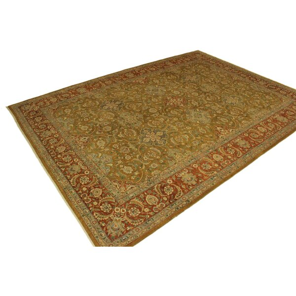 One-of-a-Kind Abagail Hand-Knotted Heritage Green/Orange 9'11 x 13'11 Wool Area Rug