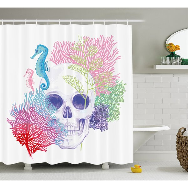Halloween Wild Skull Skeletons Shower Curtain by East Urban Home