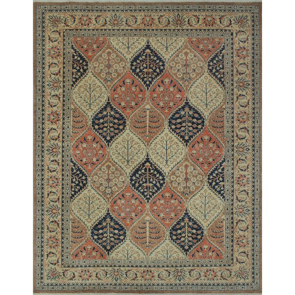 Longoria Chobi Knotted Wool Brown Area Rug by Canora Grey