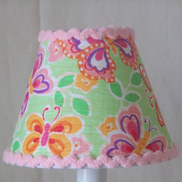 Beautiful Butterflies 7 H Fabric Empire Lamp Shade ( Screw On ) in Pink/Green