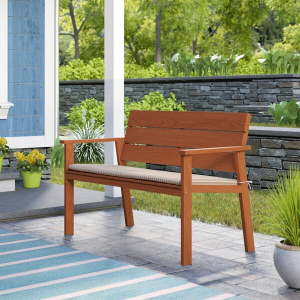 Gaeta Eucalyptus Garden Bench with Cushion by Beachcrest Home