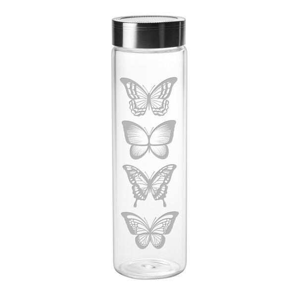 Buckwalter Butterflies Sleek 18 oz. Glass Water Bottle by August Grove