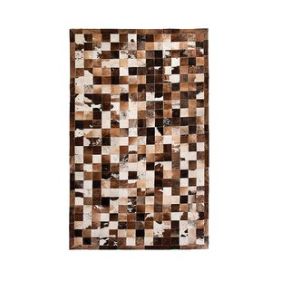 Aayush Four Square Patch Hand-Woven Cowhide Black/Brown/Gray Area Rug By 17 Stories