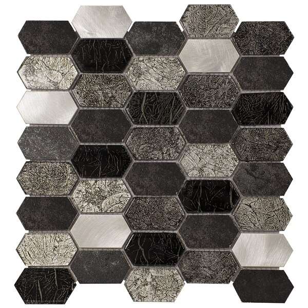 Distinto 11.61 x 12 Mosaic Tile in Gray by Byzantin Mosaic