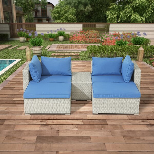 Kanye 3 Piece Rattan Seating Group with Cushions by Bayou Breeze