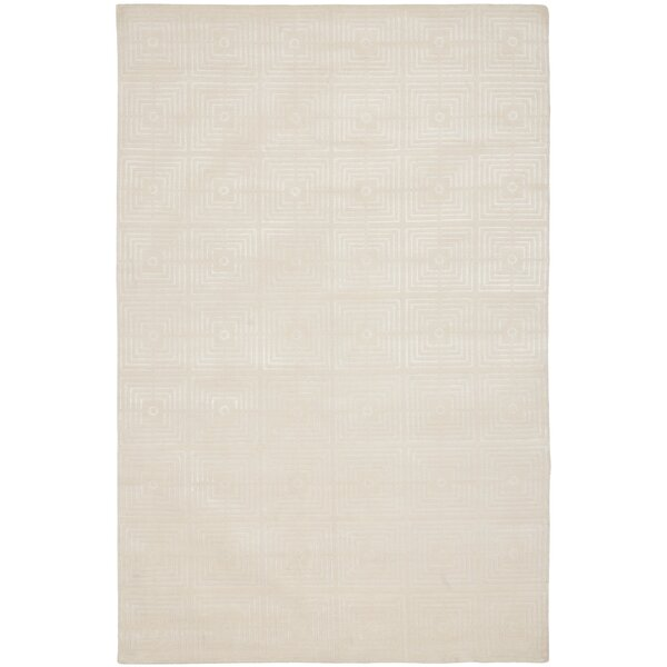 Fogg Tibetan Hand Knotted Ivory Area Rug by Everly Quinn