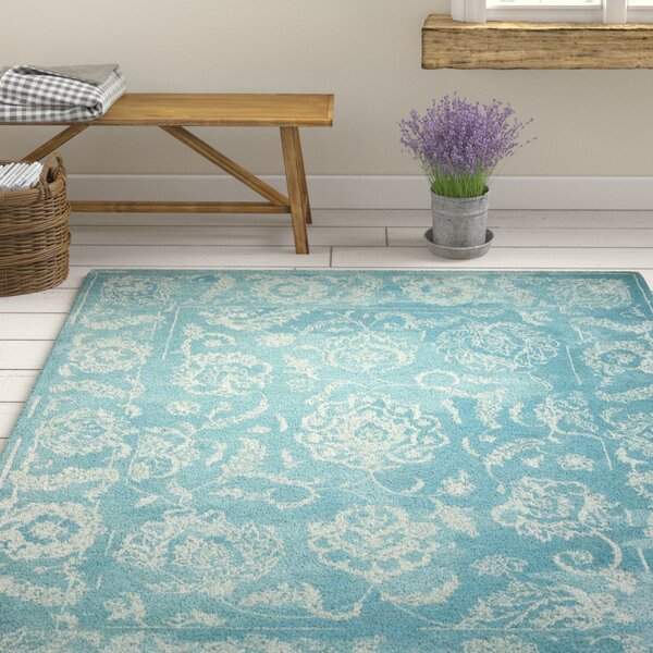 Annabel Hand-Woven Aqua Area Rug by One Allium Way