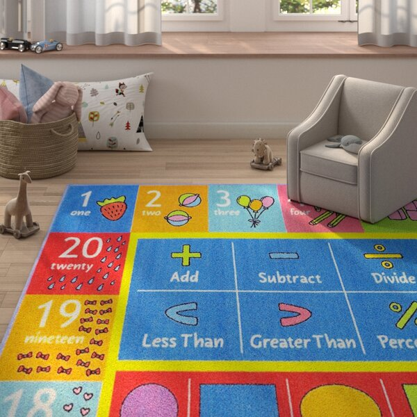 Weranna Math Symbols Numbers and Shapes Educational Learning Blue/Red Indoor/Outdoor Rug