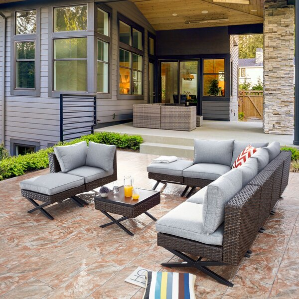 Rimersburg 9 Piece Sectional Seating Group with Cushions by Latitude Run