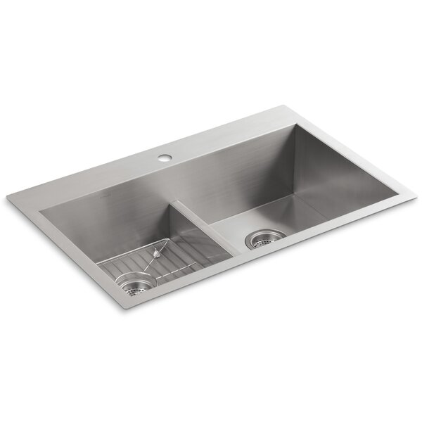 Vault 33 L x 22 W x 9-5/16 Smart Divide Top-Mount/Under-Mount Double-Equal Bowl Kitchen Sink with Single Faucet Hole by Kohler