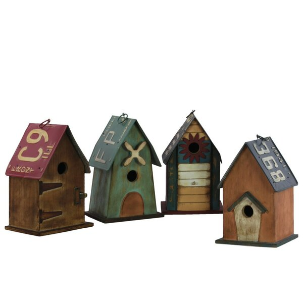 4 Piece Wood Rectangle 11 in x 6 in x 7 in Birdhouse Set by Benzara