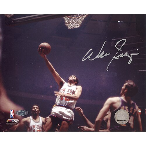Walt Frazier Lay Up Versus Lakers Autographed Photographic Print by Steiner Sports