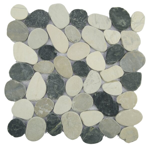 Sliced Random Sized Natural Stone Pebble Tile in Gray/White by Pebble Tile