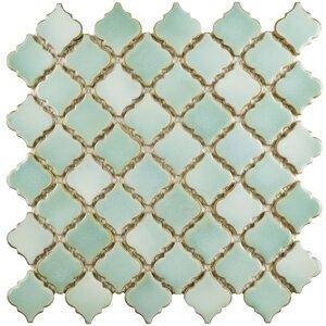 Pharsalia 12.38 x 12.5 Porcelain Mosaic Floor and Wall Tile in Mint Green
