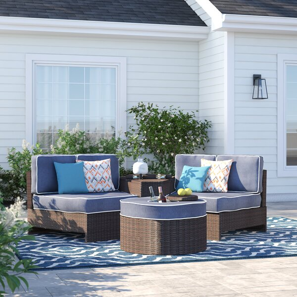 Bermuda 4 Piece Rattan Conversation Set with Cushions by Sol 72 Outdoor