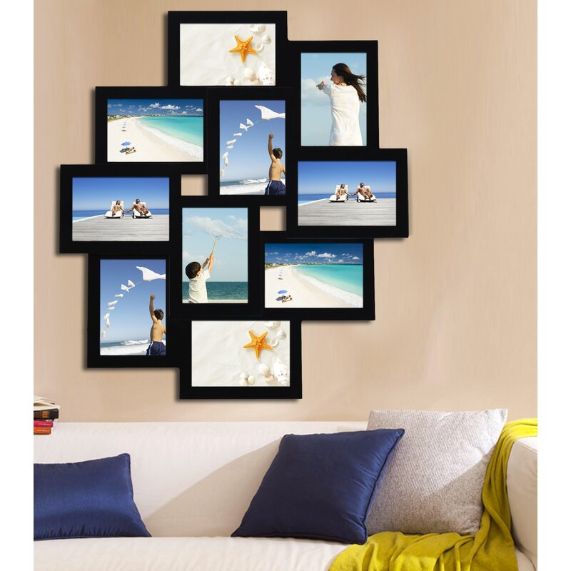 10 Opening Wood Photo Collage Wall Hanging Picture Frame