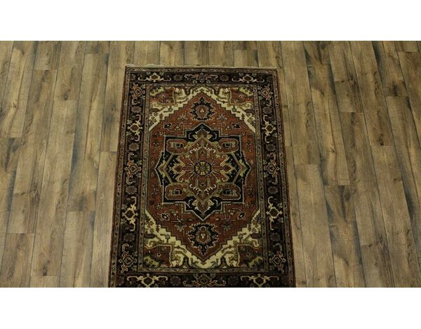 One-of-a-Kind Purvis Oriental Hand-Knotted Wool Brown Area Rug by World Menagerie