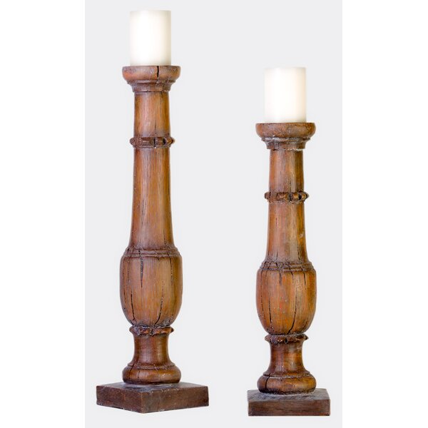 2 Piece Wood Candlestick Set by Millwood Pines