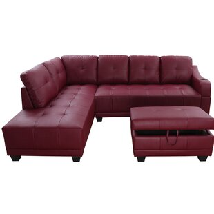 Caius Sectional with Ottoman Ebern Designs
