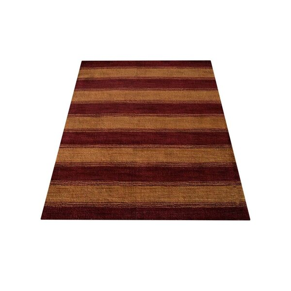 Ry Hand-Knotted Wool Red/Gold Area Rug by Latitude Run