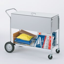 Long Solid File Cart with Locking Top and Rear Tires by Charnstrom