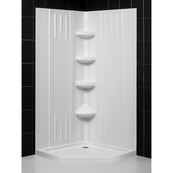 Qwall SlimLine 75.63 x 38 x 38 Neo-Angle Double Threshold Shower Base and Shower Backwall Kit by DreamLine